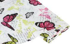 """Dekostoff """"Schmetterling"""", pink/grün € 6,99"""