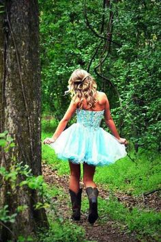 A tutu dress with cowboy boots