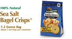 New York Style Sea Salt Bagel Crisps - The authentic taste of bagels from New York City bakeries. http://www.newyorkstyle.com/ #snacks #fingerfoods #quickbites #natural #seasalt #bagels