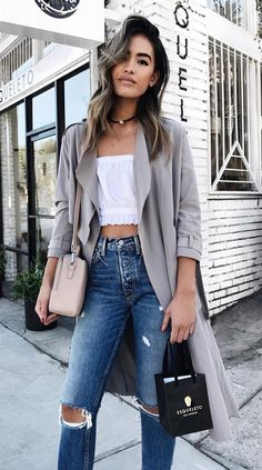 #winter #fashion /  Grey Coat + Destroyed Jeans