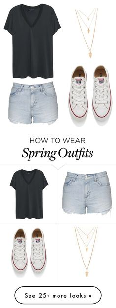 """A cute outfit for spring"" by bratzlover-i on Polyvore featuring Topshop, Violeta by Mango, Converse and Forever 21"