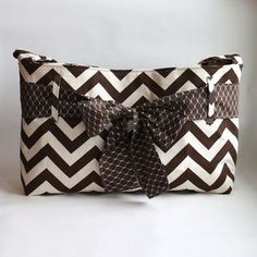 This is so cute! The Pleated Poppy Messenger bag in chocolate brown chevron with sash. Adorable!