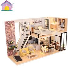 Details about DIY Loft Apartments Dollhouse Wooden Furniture LED Kit Christmas Birthday Gifts DIY Wooden Loft Apartments Dollhouse Miniature KitFurniture LED Light Gifts
