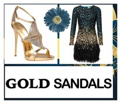 """""""Gold Sandals 2"""" by roquinn ❤ liked on Polyvore featuring Giuseppe Zanotti and goldsandals"""