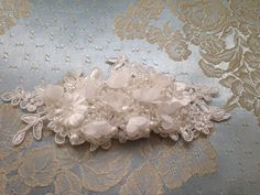 Bridal vintage wedding slide hair comb accessory Ivory by JitkasHandmadeGifts on Etsy