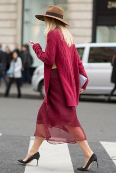 comfy stylish street-wear with deep pinks, and a play on textures like sheer skirt and over-sized sweater
