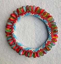 String-Along - Circus Bangle ~ Cartwheel bead crocheted by Barbara