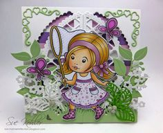 From our Design Team. Card by Suzanne Kohler featuring Catching Butterflies Marci and these dies Lattice Doily Border, Cherry Blossom Branch, Heart Ribbon Corner, Berry Flourish, Open Leaf Flourish, Grass Border. Shop for our products here - lalalandcrafts.com. Coloring details and more Design Team inspiration here http://lalalandcrafts.blogspot.com.au/