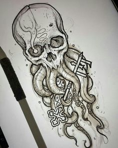 Schädel Tattoo Octopus Tattoo - Octopus Tattoo - Garden Pot Design - DIY Bathroom - Hairstyle For School - Ideas DIY Jewelry Tattoo Sketches, Drawing Sketches, Cool Drawings, Tattoo Drawings, Sketch Art, Sketch Ideas, Skull Sketch, Drawing Ideas, Cool Skull Drawings