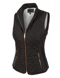 This lightweight quilted brush fleece jacket vest with pockets is the essential piece you must have! Its inner brushed fleece will give you all the comfort and fleece you need. This zip up jacket is perfect for day or night. Every women should have this jacket in there closet. Feature 100% Polyester Lightweight, soft inner brushed fleece material for warmth and comfort / Stand collar for style Full zip up closure / Gold detail on zippers for style / Ribbed side panels Two zip-up side pockets…
