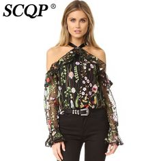 SCQP Off Shoulder Floral Embroidery Woman Blouse Bow Black Mesh Ruffle Blouse Ladies Fashion Casual Summer 2017 Women Tops