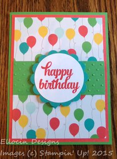 Bright and fun birthday card made with Tin of Cards stamp set and Cherry on Top Designer Series Paper stack from Stampin' Up!