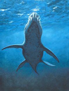 liopleurodon teeth pliosaur jurassic ocean painting