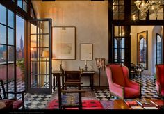 Love thee doors and windows with black/white checked floors for contrast with bright colors