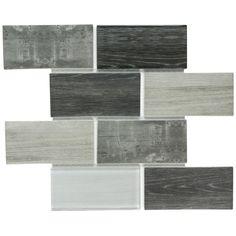 Woodglass Subway Mosaic Tile Grey 3x6 | Mineral Tiles