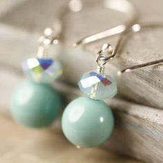 Jade Swarovski crystals and pearls dangle earrings
