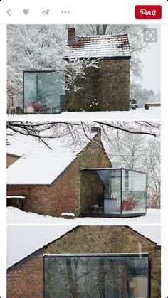 a sleek glass room creates high contrast when added to a rustic stone cabin. i can just imagine sitting out here watching the snow fall! Houses Architecture, Interior Architecture, Amazing Architecture, Exterior Design, Interior And Exterior, Stone Cabin, Building An Addition, Glass Extension, Glass Room