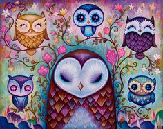 The Great Big Owl - Acrylic on wood, 20 x 16 inches, 2014 - All Rights Reserved | Jeremiah Ketner