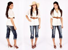 Crisp white shirt and rolled up jeans, Love!