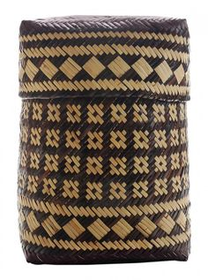 Rowena Bradley Cherokee Double-Weave River Cane Basket (Qualla Boundary, Swain County, North Carolina, 1922-2003) lidded storage basket, butternut dye, 14 x 10 x 10 in., with Qualla Arts & Crafts Mutual tag. Flax Weaving, Willow Weaving, Paper Weaving, Cane Baskets, Woven Baskets, Crochet Baskets, Handmade Rugs, Handmade Crafts, Basket Weaving Patterns