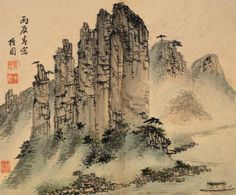 Kim Hong-do 金弘道(檀園, 1745∼1806?) , 朝鮮 1796年, 종이.水墨淡彩, 26.7×31.6, 寶物 782號 Oksun Peaks / Kim Hong-do(1745∼1806?) / Choson dynasty, dated 1796 / Ink and light color on paper / 26.7×31.6 / Treasure No. 782, 김홍도 만년의 대표작 『병진년화첩(丙辰年畵帖)』 중의 한 폭으로, 단양팔경(丹陽八景) 중 하나인 옥순봉(玉筍峯)을 그린 것이다. 이 그림을 그린 병진년(1796)은 김홍도가 정조(正 祖)의 초상화을 잘 그린 공로로 충청도 연풍의 현감(縣監)에 임명받아 1795년까지 재직한 직후이다. 이 시기에 김홍도는 사생(寫生)을 바탕으로 한 진경산수화에서 한차원 더 나아가 서정성이 두드러진 이상화된 현실세계를 표현한 작품을 많이 남겼다.