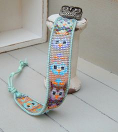 Little Owl Woven Cuff Friendship Bracelet by TowerCreationsbyTC
