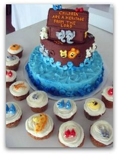 Noah's Ark...i like the Ark cake and all the cupcakes are the animals