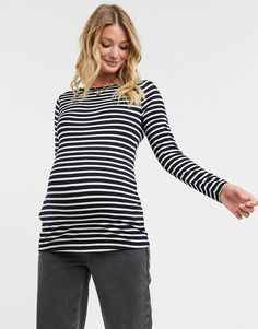 ASOS DESIGN Maternity long sleeve striped top in navy | ASOS