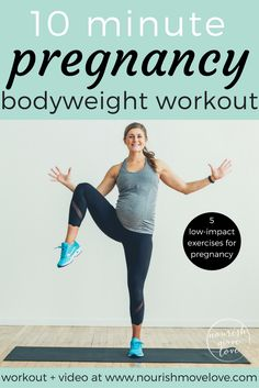 Effective 10 minute, total body workout for the pregnant mom, new mom, and busy mom. Combines bodyweight strength training exercises with low impact cardio. Perfect for naptime or a short total body b Fitness Workouts, Fitness Motivation, At Home Workouts, Pränatales Training, Training Exercises, Weight Training, Bodyweight Strength Training, Workout Bodyweight, Body Weight