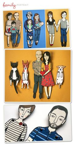 Painted family portraits made into miniature - moveable paper dolls