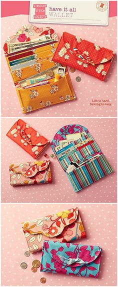 Sewing pattern to make a supercute wallet pattern that you'll take everywhere.Helps keep you neat and organized.Features pockets for cards, bills, checkbook, coupons.Includes a zippered pocket for coins and closes with either of two cute flaps.