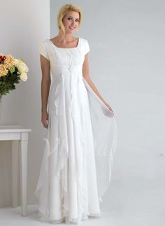 Mother of the Bride Dresses - $137.29 - Empire Square Neckline Floor-Length Chiffon Mother of the Bride Dress With Ruffle (00805007518)