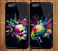 Colorful Skull for couple case iphone