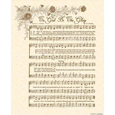 To GOD BE The GLORY  8x10 Antique Hymn Art Print by VintageVerses, $5.00