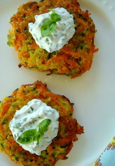 ... Carrot and Zucchini Pancakes with Basil Chive Cream - Good Dinner Mom