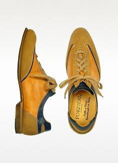 Mens Camel & Blue Handmade Italian Leather Lace-up Shoes - These vintage inspired handcrafted shoes put a fresh spin on casual elegance with rich brown Italian leather with light brown laces and a graceful shape. Made in Italy. Lace Up Shoes, Men's Shoes, Shoe Boots, Desert Boots, Italian Leather Shoes, Leather And Lace, Shoe Department, Fashionable Snow Boots, Vogue