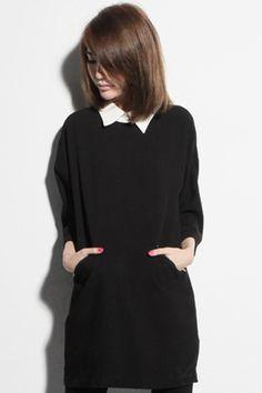 Contrasting Zippered Black Dress #Romwe