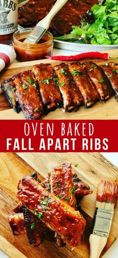 Fall off the Bone Ribs Recipe - Peter's Food Adventures Fall off the Bone Ribs recipe, Pork Ribs in oven that's easy to make with a dry rub, so tender, basted with a perfect blend of Honey Sriracha Bbq sauce. Bbq Ribs In Oven, Pork Loin Back Ribs, Oven Baked Ribs, Babyback Ribs In Oven, Spare Ribs Oven, Baked Spare Ribs, Ribs Recipe Oven, Grilled Ribs Recipe Easy, Gastronomia