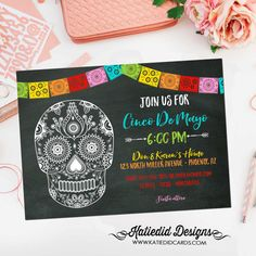 cinco de mayo invitations fiesta couples shower Papel Picado chalkboard candy skull rehearsal dinner engagement party item 366