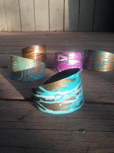 Hand Painted Patina Metal Bracelet Cuffs by JenniferAnnFineArt