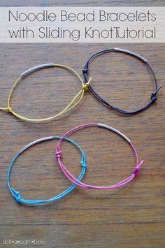 Noodle Bead Bracelet with Sliding Knot Tutorial   rickabamboo.com   #jewelry #diy #handmade #braceletsdiyadjustable