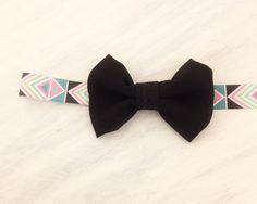 Baby Girl Aztec Bow Headband - Geometric Triangle Elastic - Black Chiffon Bow - Pink - Teal - Girl Teen Adult headband on Etsy, $7.49 CAD