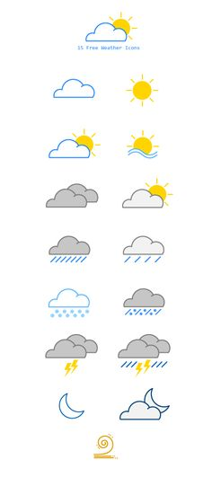15 Free Weather Vector Icons on Behance Life Planner, Happy Planner, Planner Doodles, Bullet Journel, Header Design, Sketch Journal, Weather Icons, Scrapbook Journal, Planner Organization