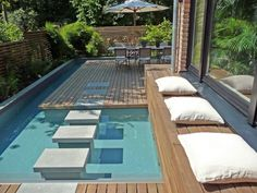 Long but Narrow Plunge Pool | Mini Spa Design for Small Terraced Houses - DigsDigs