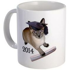 Kitten Graduation 2014 Mug from Cat's Clips. Graduating in 2014, a Siamese kitten wears a black graduation cap and holds a diploma. http://www.cafepress.com/catsclips.1285115707