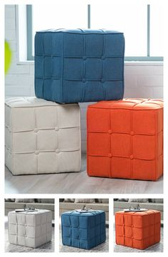 Add a pop of color to any room you wish with the Belham Living Pilar Tufted Square Ottoman. Choose from three fun, bold color selections and watch as they brighten your living room, bedroom, or basement. This exquisite ottoman is only available from hayneedle.com.