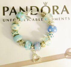 "NWOT WOMAN'S AUTHENTIC PANDORA BRACELET LOBSTER CLAW 7.1"" W/HEART & BABY BLUE #Pandora #European"