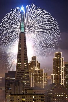 """Fireworks over San Francisco"" by Can Balcioglu, San Francisco, California // Fireworks over the Transamerica Building in San Francisco for New Years 2007. // Imagekind.com -- Buy stunning, museum-quality fine art prints, framed prints, and canvas prints directly from independent working artists and photographers."