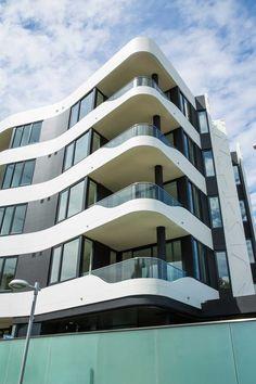 Balconies with curved facade Glass Pool Fencing, Pool Fence, Glass Balustrade, Curved Glass, Splashback, Balconies, Facade, Concrete, Australia