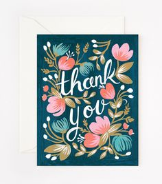 Midnight Garden Thank You Card #luvocracy #graphicdesign #illustration #thankyoucard #card #typography #lettering